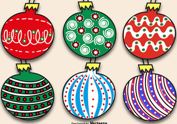 Hand-drawn Christmas Balls Set - vector gratuit #411939