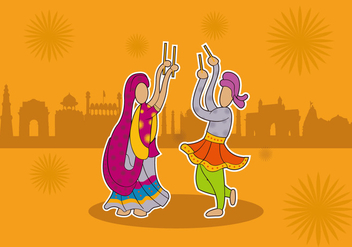Garba indian dance festival vector - vector #411979 gratis