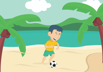 Guy Playing Soccer On The Beach - vector gratuit #412079