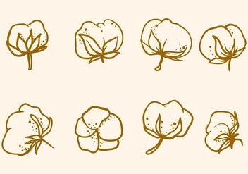 Free Hand Drawn Cotton Flower Vector - Kostenloses vector #412239