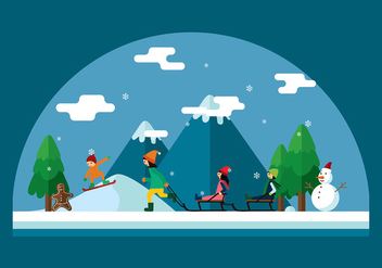 Winter Sledding Scene Vector - vector gratuit #412299