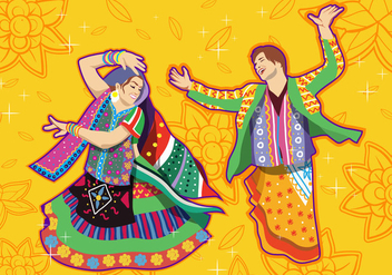 Couple Performing Garba Dance - vector gratuit #412309