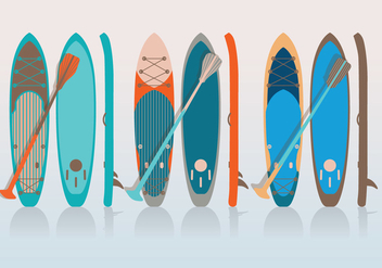 Paddle and Board Vector - Free vector #412489