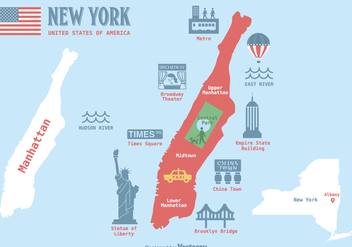 Free Manhattan Map Vector Illustration - vector #412499 gratis