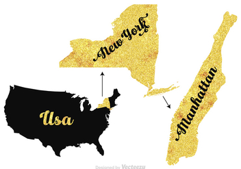 Free Manhattan - New York - USA vector map - Kostenloses vector #412519