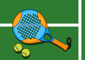 Illustration Of Padel Racket And Ball - vector gratuit #412529
