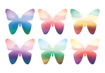 Vector Watercolor Butterflies - Free vector #412609