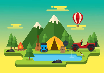 Jeep Camping Trip Free Vector - Free vector #412789