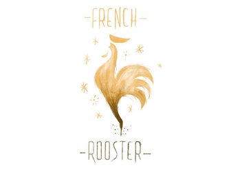 Free French Rooster Watercolor Vector - vector gratuit #413249