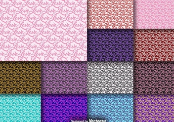 Word Love Seamless Pattern Collection - vector #413259 gratis