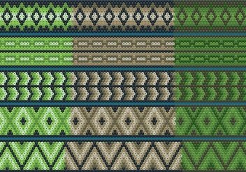 Green And Brown Huichol Ribbons - Kostenloses vector #413309