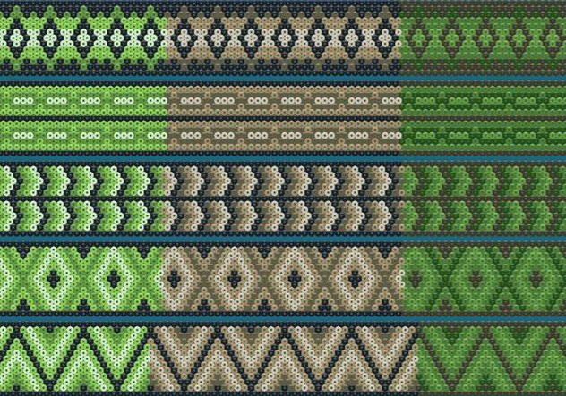 Green And Brown Huichol Ribbons - vector gratuit #413309
