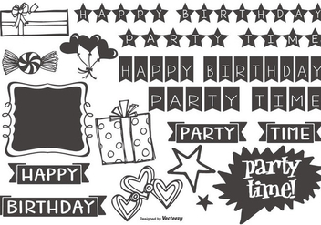 Cute Hand Drawn Style Party Elements - vector #413319 gratis
