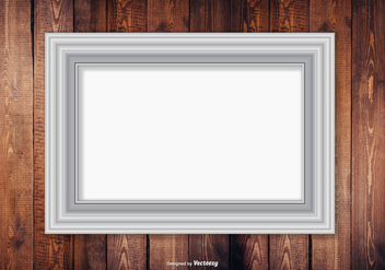 Silver Frame On Wood Wall Background - vector gratuit #413339