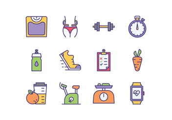 Free Diet Program Icons - vector #413369 gratis