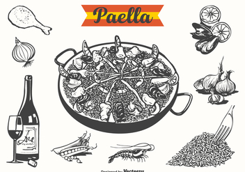 Free Paella Drawn Vector Illustration - бесплатный vector #413409