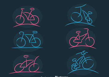 Bicycle Sketch Icons Vector - бесплатный vector #413489