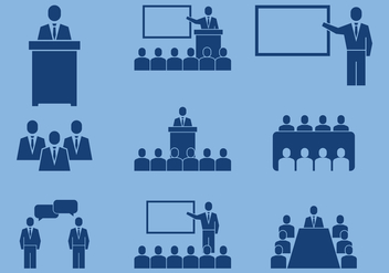 Business Conference Icons - vector #413759 gratis