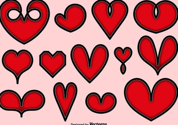 Collection Of Vector Hearts Icons - vector #413789 gratis