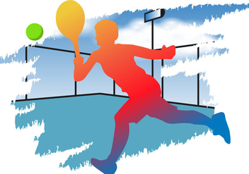 Man Playing Padel Silhouette - vector gratuit #413809