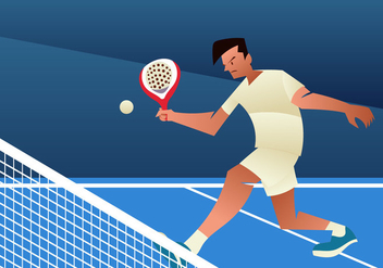 Young Man Playing Padel Tennis - Free vector #413889