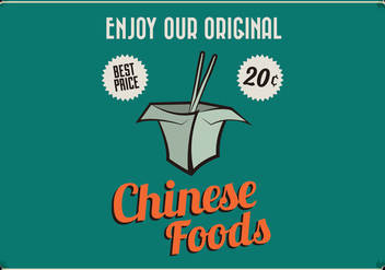 Chinese Takeout Retro Vector - Free vector #413989