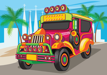 Philippine Jeep vector Illustration or Jeepney - бесплатный vector #414269
