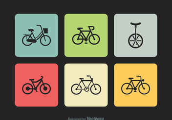Free Bicycle Silhouette Vector Icons - vector #414359 gratis