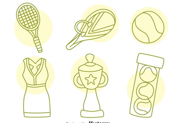 Hand Drawn Tennis Icons Vector - Free vector #414409