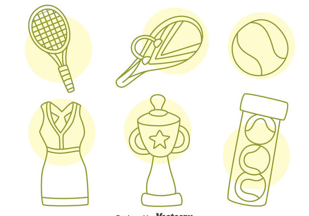 Hand Drawn Tennis Icons Vector - Kostenloses vector #414409