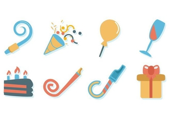 Free Birthday Stuff Icons Vector - vector gratuit #414649