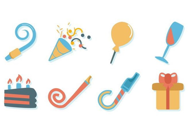 Free Birthday Stuff Icons Vector - vector #414649 gratis