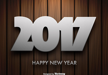 Vector Wooden Background With 2017 New Year Message - бесплатный vector #414679