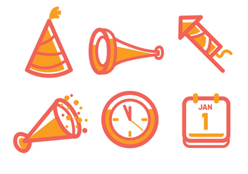 New Year Icon - vector #414839 gratis