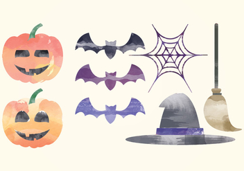 Vector Halloween Watercolor Elements - Free vector #414979