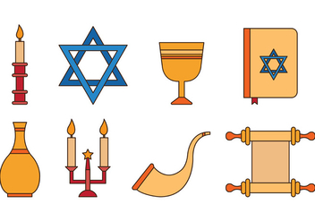 Set Of Shabbat Icons - Free vector #414999