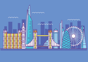 Vector Illustration The Shard and The London Skylane - бесплатный vector #415379