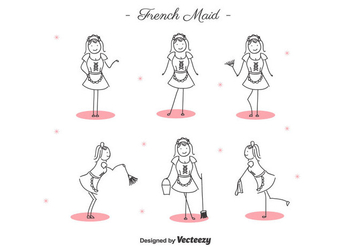Free Cartoon French Maid Vector - vector gratuit #415559