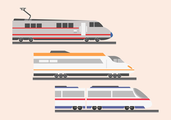 High speed rail TGV city train illustration flat color - Free vector #415579