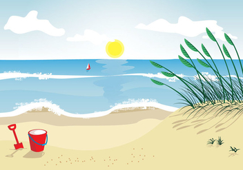 Sea oats beach vector illustration - Free vector #415779