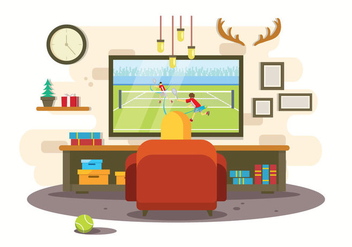 Watching Tennis Illustration - бесплатный vector #415869