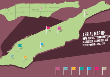 Aerial Map of New York City Manhattan & colored marker flags - vector #415879 gratis