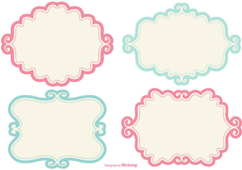 Cute Doodle Label Frames - Free vector #416229
