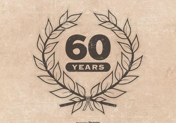 Grunge Style 60th Anniversary Illustration - Free vector #416319