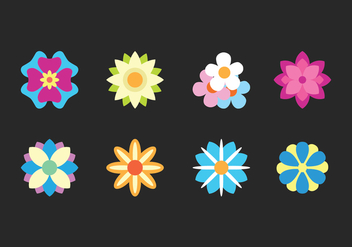 Flat Flower Icons - vector gratuit #416349