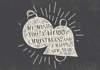 Free Vintage Hand Drawn Christmas Card With Lettering - vector gratuit #416689