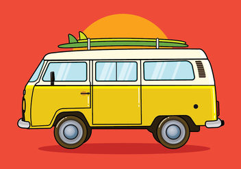 Hippie Bus Vector Illustration - Free vector #416699