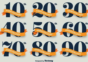 Anniversary Vector Icon Set - Kostenloses vector #417019
