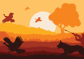 Wild Turkey Sunset Vector - Free vector #417269