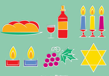 Shabbat Element Icons Vector - Free vector #417309